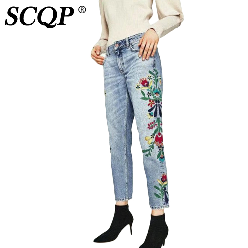 SCQP Floral Embroidery Blue Womens Jeans Straight Pockets Women Denim Jeans Ladies Fashion Spring Casual 2017 Trouser Femme flower embroidery jeans female blue casual pants capris 2017 spring summer pockets straight jeans women bottom a46