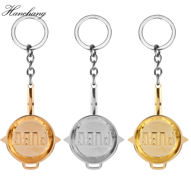 HANCHANG Game Jewelry Playerrunknowns Battergrounds Keychain Mini Pans Pendant Keychain PUBG Keychain Llavero Chaveiro Men Gift