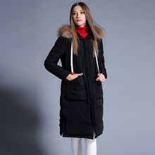 winter Europe and the United States Female In the long section Thickening hat True fur collar Down jacket