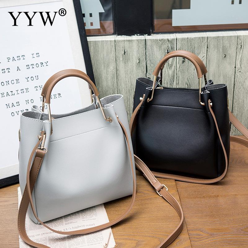 Solid Soft PU Leather Female Shoulder Bag Women'S Bucket Handbags Light Grey Tote Bags For Women 2018 Designer Top-handle Bag 16