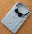 Classic Fit Polyester Shirts  Custom Made Any Colors Men Wedding Groom  Front Pleats Bridegroom Shirt For Men CS11