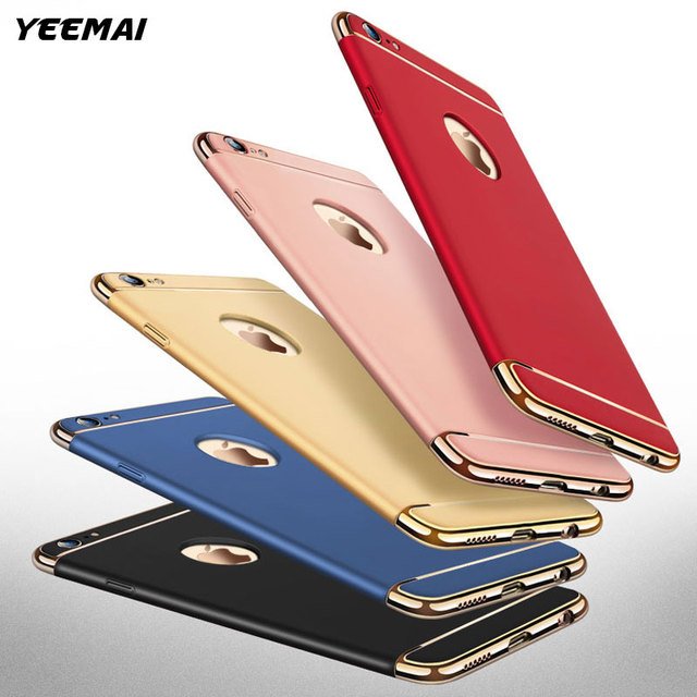Luxury 3 in 1 Electroplate Frame Phone Case For iPhone 7 6 8 6S 7 Plus X 5S 5 S SE Matte Anti-Scratch Shockproof Full Body Cover