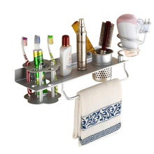 Bathroom Hair Dryer Holder Blow Comb Organizer Shelf Rack Stand Hanging with Toothbrush