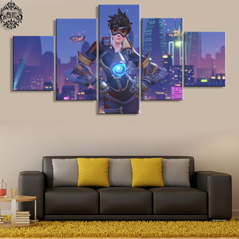 Home Decoration Game: Game Poster Canvas Printed 5 Panel Overwatch Tracer Wall