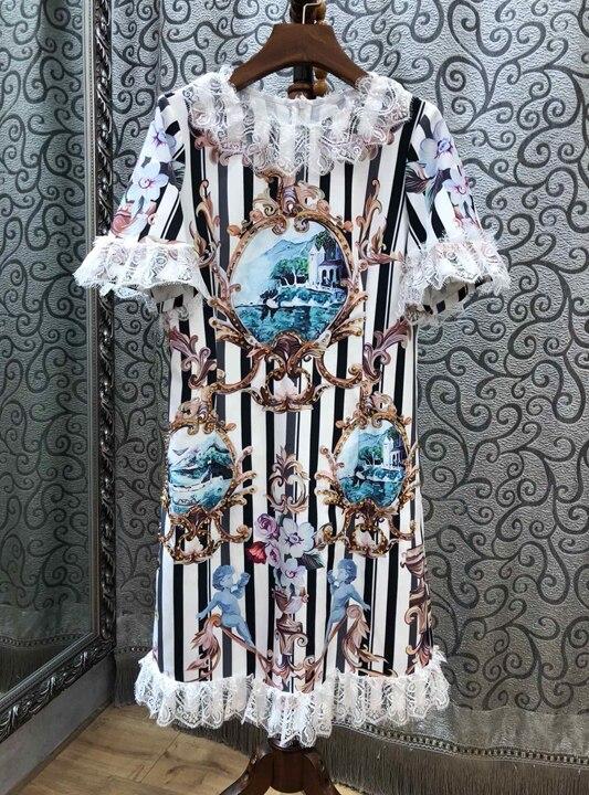 Lace Stickerei Horn Printed Dress1207 Farbe Neck Patterns Mittermel Multi lFc3K5u1TJ