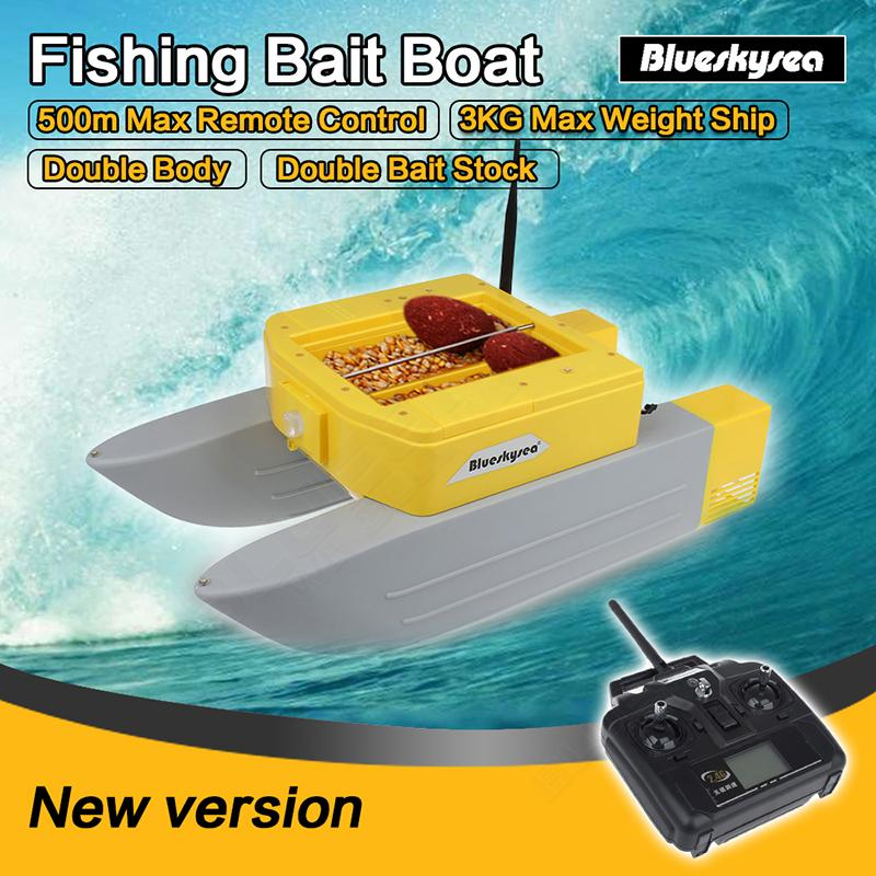 Free ship Newest Blueskysea T168 RC bait boat 500M Remote Fish Finder boat fishing Lure bait 3kg rc boat double Bait Stock