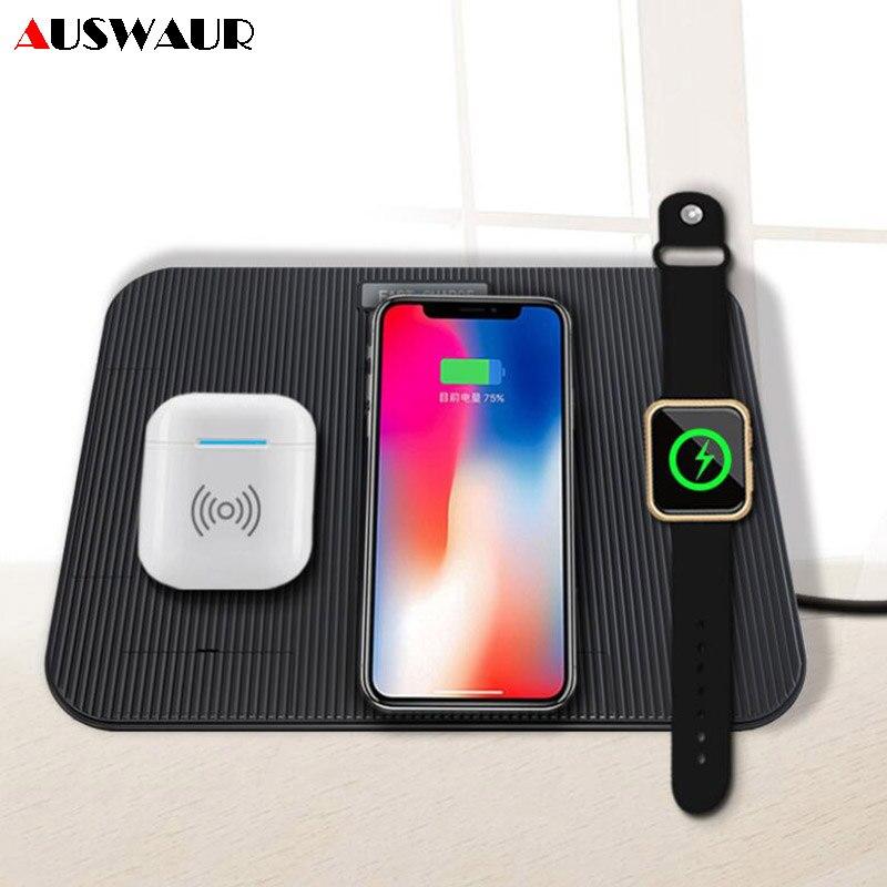 Chargeur 4 en 1 QI rapide sans fil pour iPhone 8 XR XS MAX chargeur sans fil de charge pour Apple Watch iWatch 1 2 3 4 Airpods chargeur
