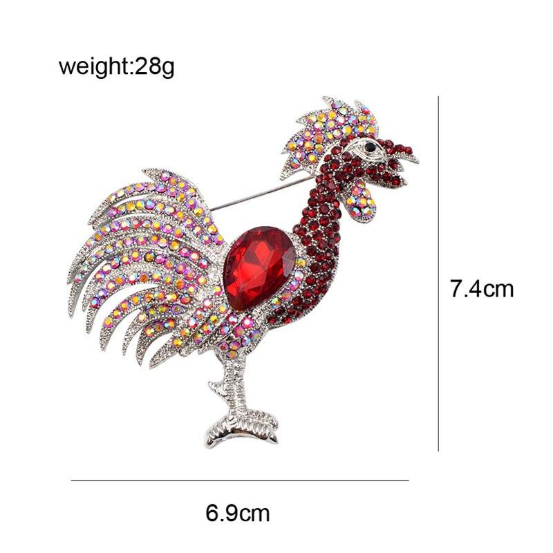 CINDY XIANG rød farge rhinestone cockfighting brosjer for kvinner - Mote smykker - Bilde 2