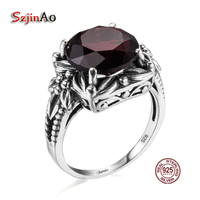 Szjinao Big Promotion Real 925 Silver Ring Element Garnet Antique Rings For Women Wholesale Wedding Engagement Jewelry bague