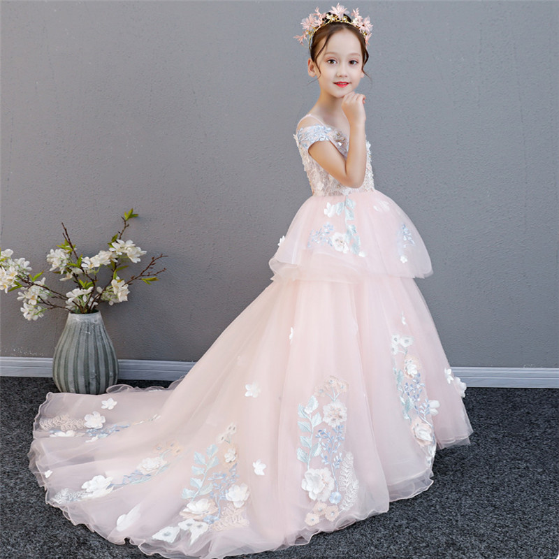 2018 New Luxury Children S Elegant Pink Birthday Wedding Evening Party Long Tail Dress Kids Model Show Flowers