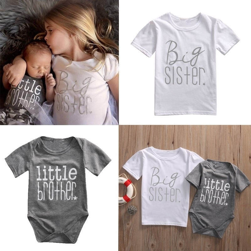 K560 Fashion Matching Family Casual Clothes Big Sister T-shirt Little Brother Romper