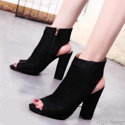 SZSGCN428 Yeni yarım çizmeler Faux Süet Deri Rahat Açık Peep Toe Yüksek Topuklu Fermuar Moda kare kauçuk siyah ayakkabı Kadınlar Için