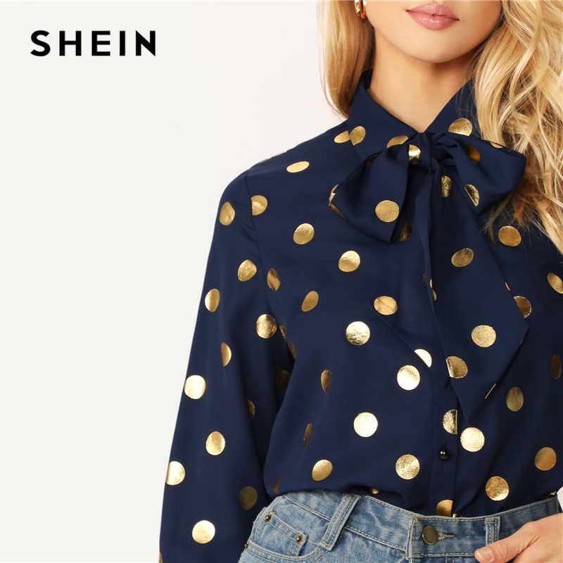 SHEIN стильный темно-синий однобортный Топ в горошек с завязками на шее, блуза с длинным рукавом для женщин, весна-осень 2019, элегантные офисные женские блузки