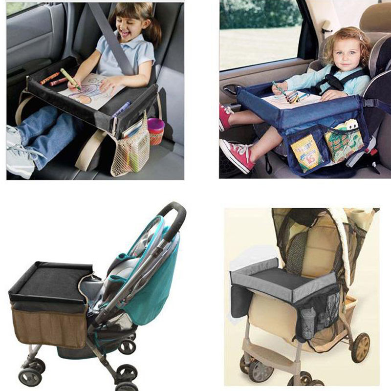 3-Children Portable Table For Car Baby Stroller Holder Food Desk Waterproof New Child Table Car Seat Tray Storage Kids Toy