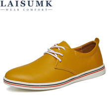 LAISUMK Men Casual Shoes Spring And Autumn Breathable Man Leather Peas Fashion Mens Flats Wear Resistant Large Size