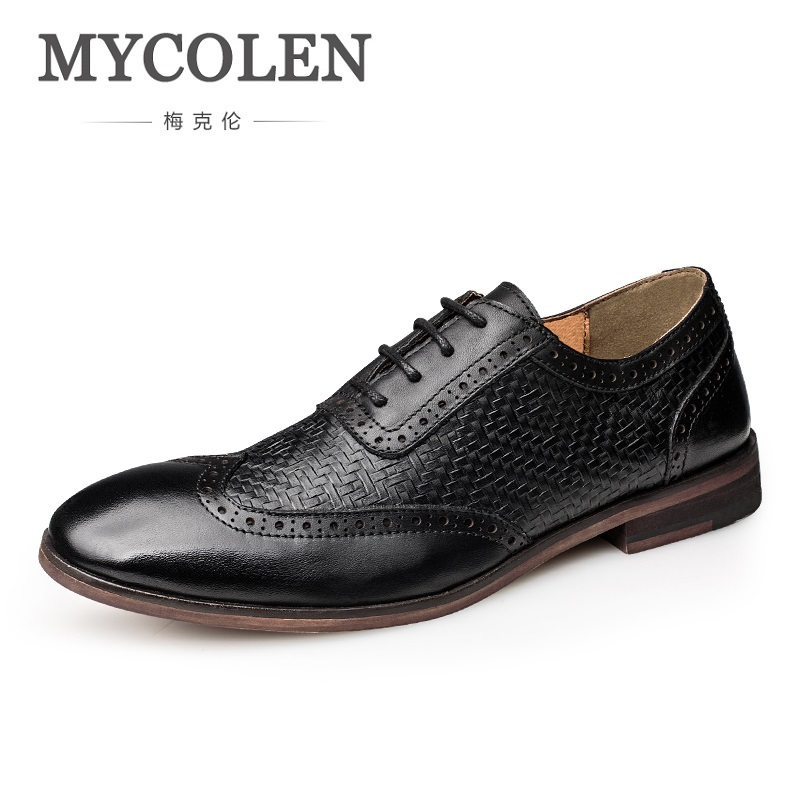 MYCOLEN 2018 New Brand Fashion Style Men Leather Dress Handmade Shoes Men Shoes High Quality Formal Men Shoes Sepatu Pria 2017 new spring imported leather men s shoes white eather shoes breathable sneaker fashion men casual shoes