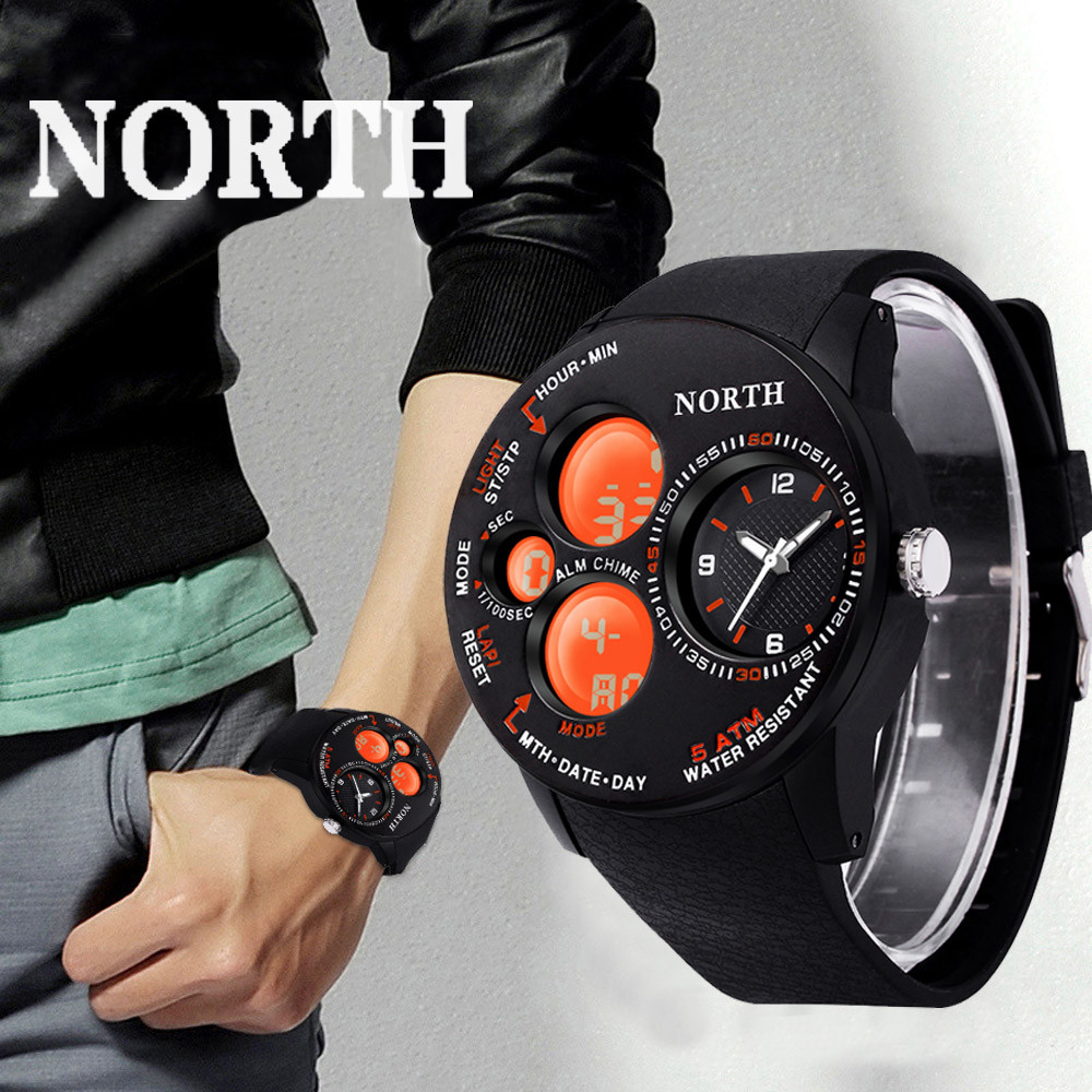 NORTH Waterpoof Mens Rubber Band Digital Army Military Quartz Sport Wrist Watch Erkek Saat Bayan Kol Saati Erkek Kol Saati fashion erkek saat quartz watch men julius sport relogio masculino montre homme marque de luxe bayan kol saati calendar week