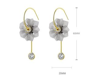 New Arrival Resin Vintage Plant Women Dangle Earrings Circle Gray Flower Long Pendant Earrings For Women Drops Earrings