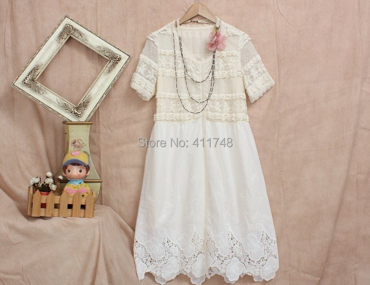 Mori Girl Lace Embroidery Summer Dress Lolita Ruffles Dress font b Gauze b font font b womens gauze clothing promotion shop for promotional womens gauze,B Gauze Womens Clothing