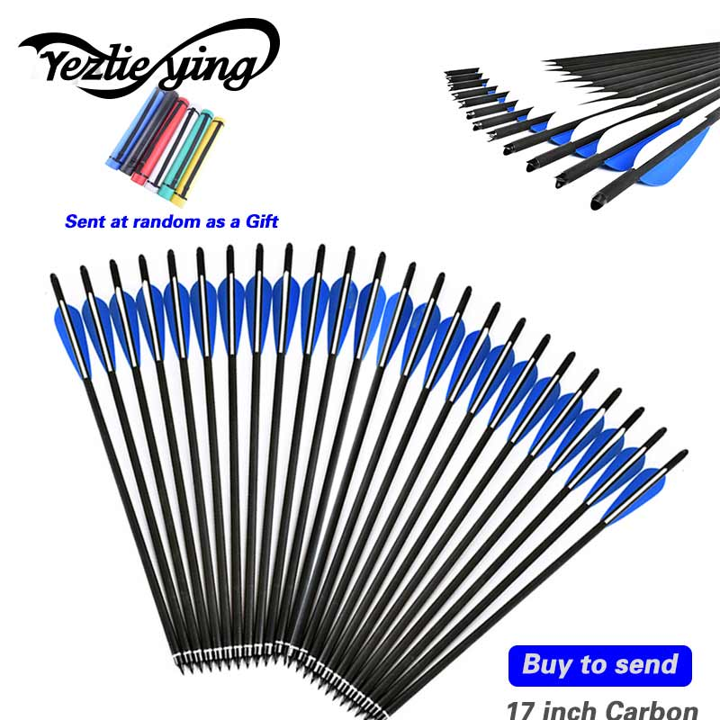 Latest launch 24pcs blue and white plastic Vanes with replace carbon arrows head for 17 inch compound bow archery sports