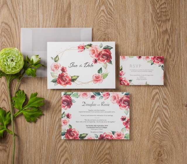 Wishmade Floral Red Rose Simple Design Wedding Invitation Card Gold