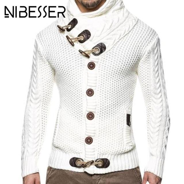 07c017710 NIBESSER Marca Homens Casaco Cardigan Camisola Nova Moda Outono Casual  Masculino Solto Fit Quente Roupas de