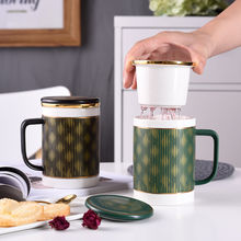 Nordic large capacity mug ceramic with lid spoon filter tea cup office tea creative 400ML(China)