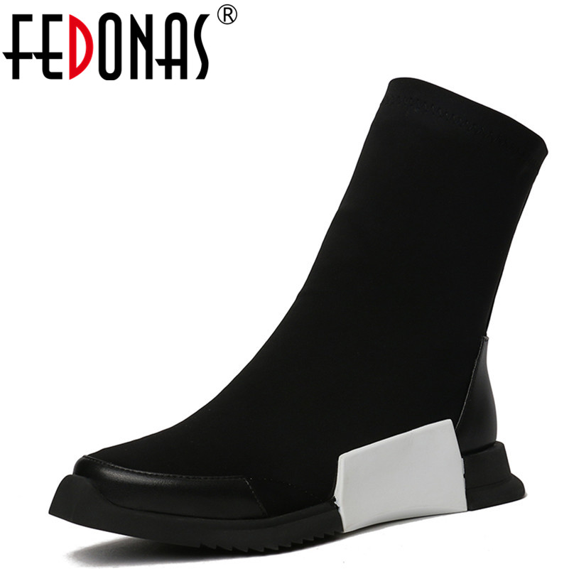 FEDONAS 1New Arrival Women Mid-Calf Boots Autumn Winter Warm Platforms Flats Shoes Woman Round Toe Brand Quality Stretch Boots