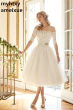 Elegancki dekoltem w łódkę krótki tanie suknia ślubna 2020 pół rękawy koronkowe aplikacje panny młodej Off ramię połowy łydki Boho ślubne suknia