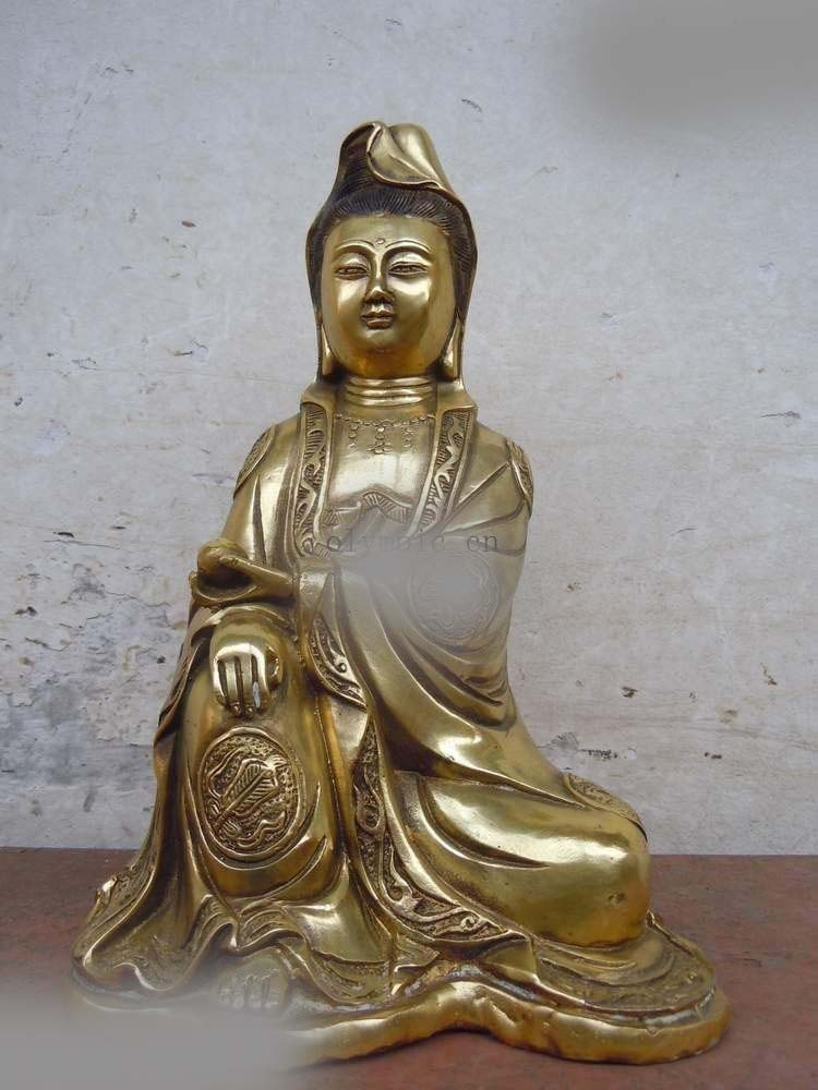 Free Shipping  11 China bronze gilded Guanyin Bodhisattva comfortable Kwan-yin buddha statue 8 china silver fine workmanship carved lucky money happy buddha on fish statue d0426
