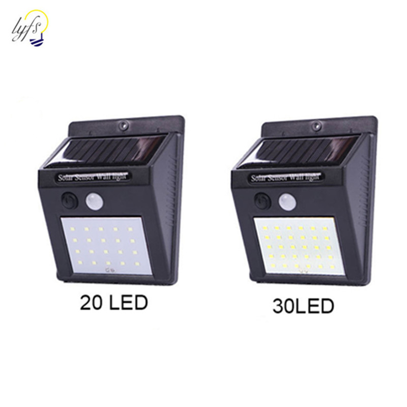 20/30LED Solar Power PIR Motion Sensor Outdoor Wall Light Waterproof Energy Saving Street Yard Wall Garden Security Led Lamp