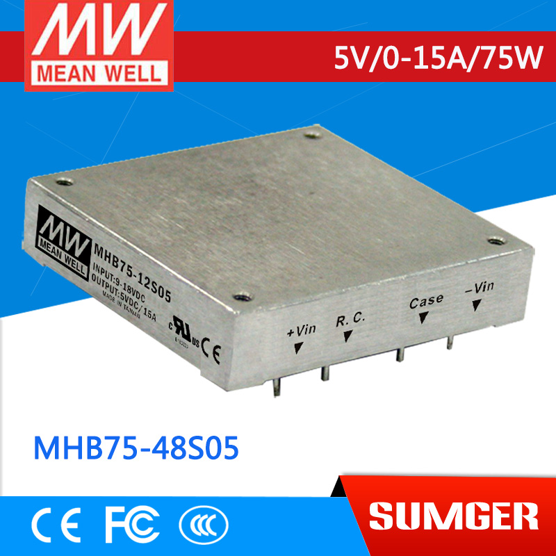 1MEAN WELL original MHB75-48S05 5V 15A meanwell MHB75 5V 75W DC-DC Half-Brick Regulated Single Output Converter