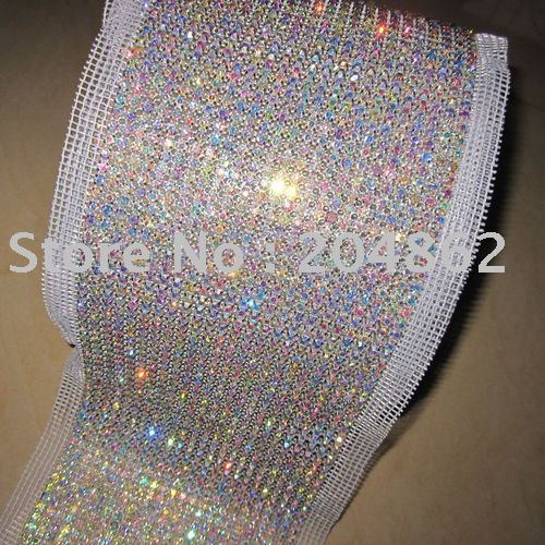 10yards 24 Row SS19 Rhinestone mesh trimming with AB Crystal White Mesh in Sliver Gold setting for DIY Garment Wedding dress