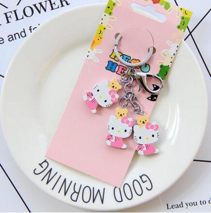 92c6fe561 New 10set cartoon pink Hello kitty bears wooden pendant Keychain Key ring  kids toy gifts