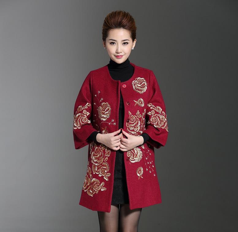 rouge Veste Nouveau Femmes Noir Manteau Plus Taille 6xl De Laine Broderie qqBaRgwn