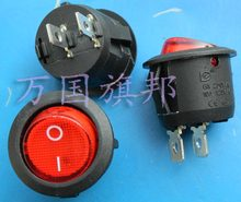 Entrega livre, interruptor tipo de navio rodada interruptor 6 um 250 v 20mm de diâmetro de cabeça vermelha