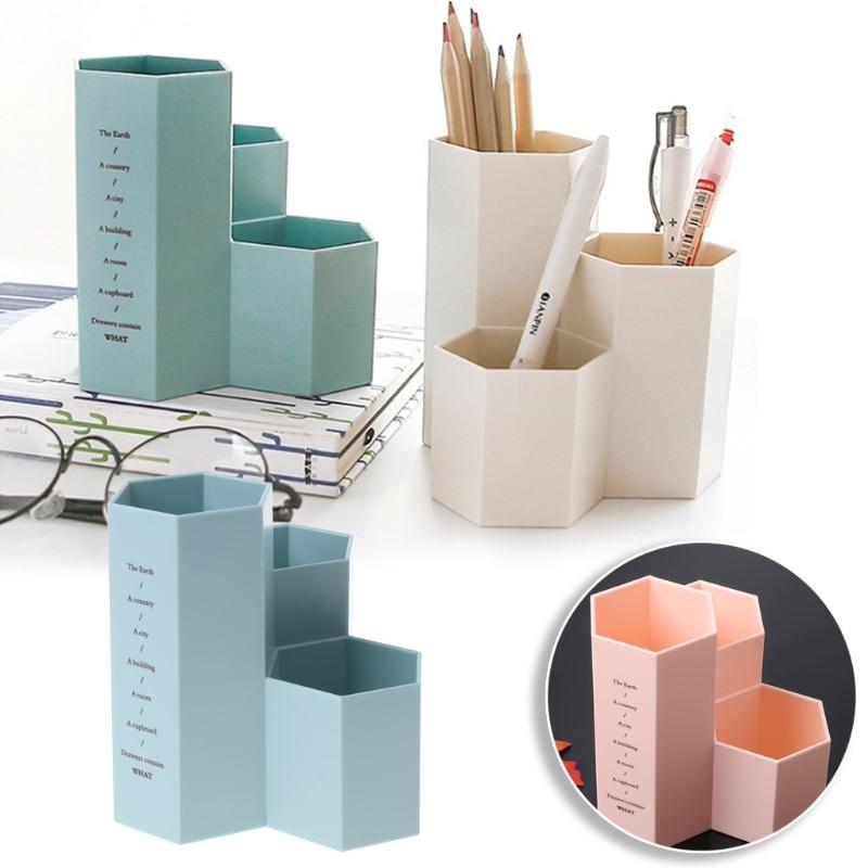 Creative Hexagonal Pencil Holder Stand Plastic Desktop Storage Box Home Office Organizer Storage Boxes Bins