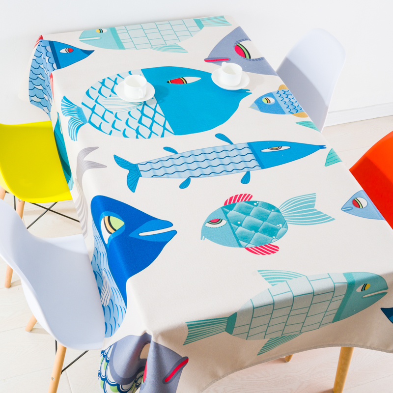 Mediterranean Home decor Simple Cartoon Abstract Fish Pattern Linen Table Cloth Dining Tablecloth Coffee Restaurant Cloth Cover
