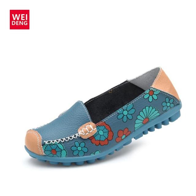WeiDeng Phụ Nữ Thường Genuine Leather Thuyền Thoải Mái Mềm Mại Gommino Phẳng Thông Gió In Ấn Thời Trang Trượt Phẳng Trên Shoes Giày Đế