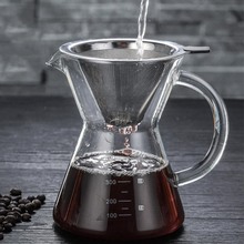 400ml Pour Over Coffee Maker Drip Paperless Stainless Steel Filter Glass Carafe Pot Percolators