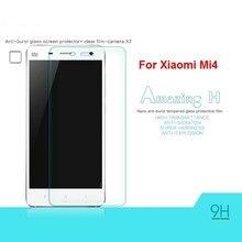 2個xiaomi Mi4スクリーンプロテクター強化ガラスxiaomi Mi4 xiaomi mi 4抗電話フィルムwolfrule