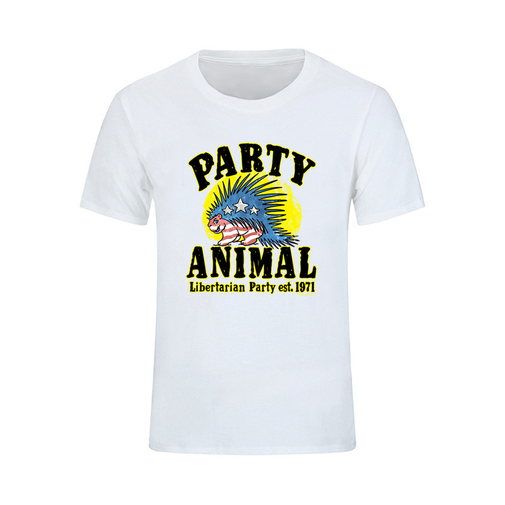 418b1154a160 Harajuku T Shirt Men Tops Rock Short Sleeve T shirt Libertarian Porcupine  Party Animal O Neck Tee Shirt Femme Can be customized -in T-Shirts from  Men's ...