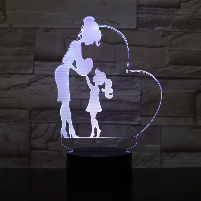 USB 3D LED Night Light Mom And Daughter Love Heart Figure Girls Kids Baby Birthday Gifts Decorative Lights Table Lamp Bedside
