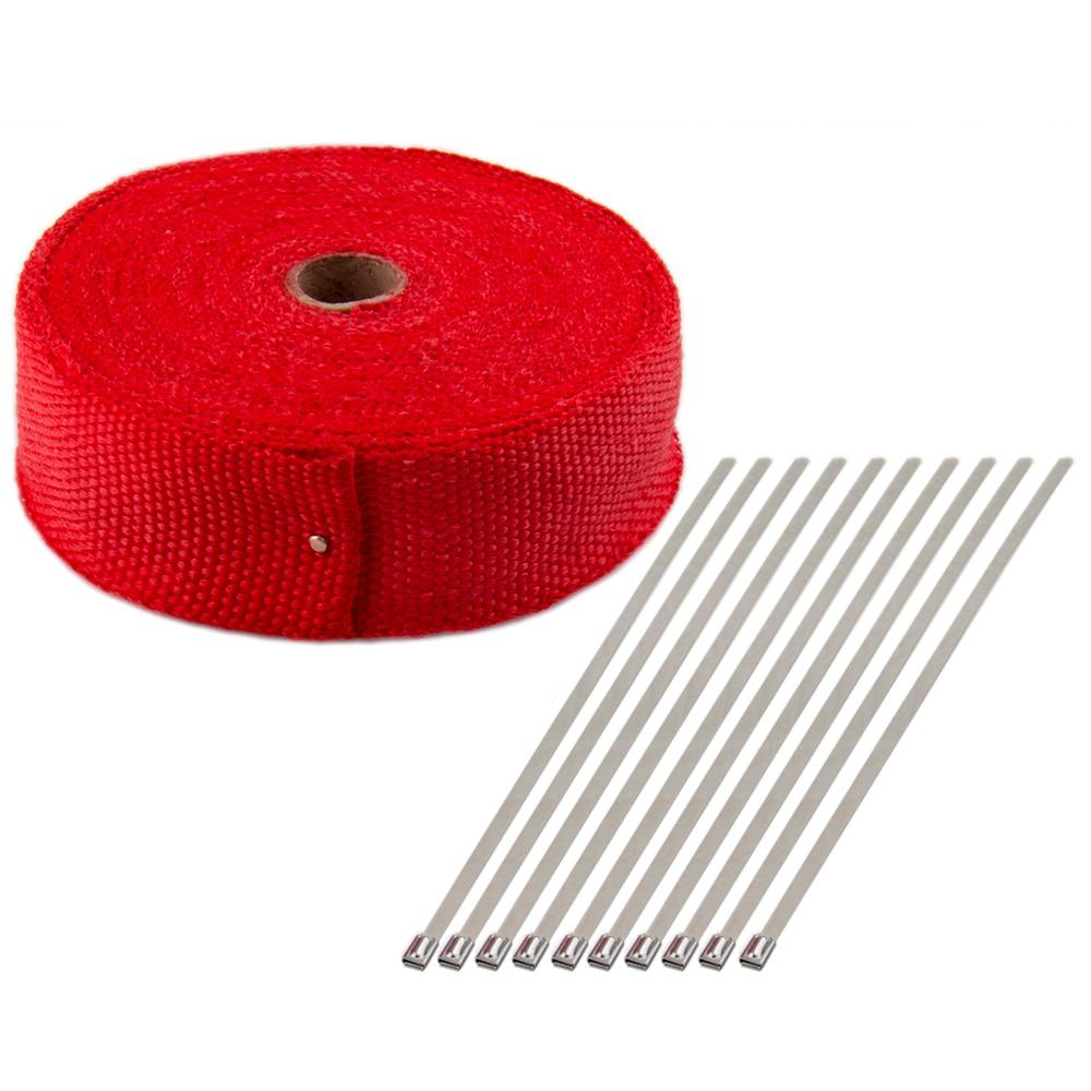 """Black 2/"""" x 50FT Exhaust Header Fiberglass Heat Wrap Tape w// 5 Steel Ties S"""