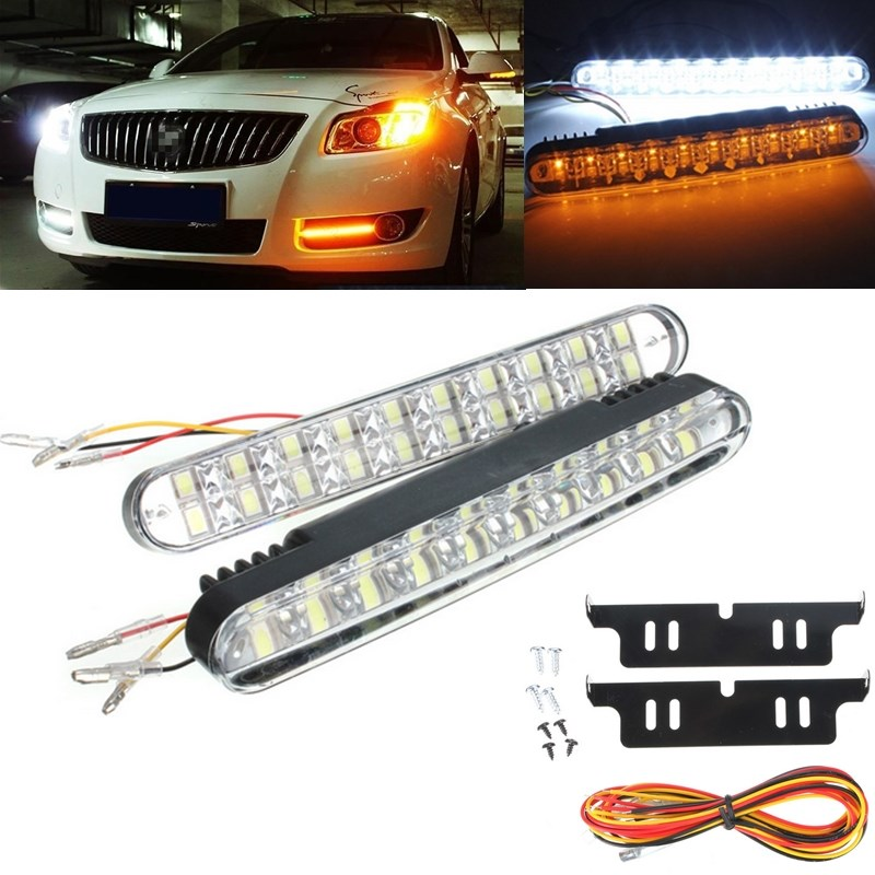 2pcs 30 SMD LED Car Auto Daytime Running Lights White DRL and Yellow Turn Signal Lamp Car Styling Light Sourse Parking 12V h1 super bright white high power 10 smd 5630 auto led car fog signal turn light driving drl bulb lamp 12v