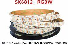 Sk6812 rgbw (ws2812b semelhante) 4 em 1 m/4 m/5 m 30/60/144 leds/pixels/m individual endereçável tira conduzida wwa ww nw ip30/65/67 dc5v