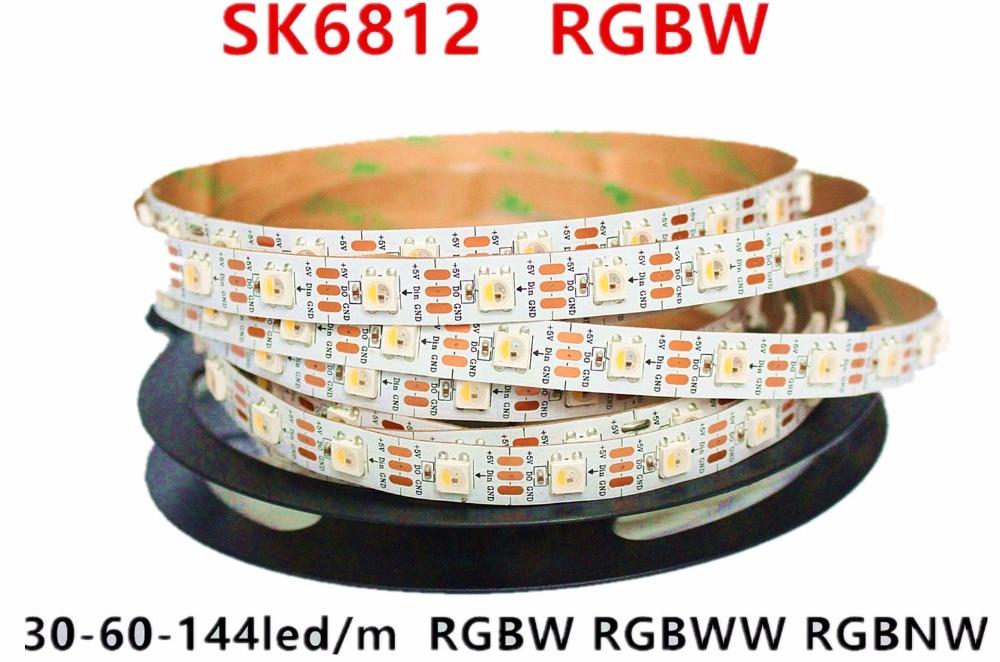 SK6812 RGBW (similaire ws2812b) 4 en 1 1 m/4 m/5 m 30/60/144 leds/pixels/m bande led adressable individuelle wwa ww nw IP30/65/67 DC5V