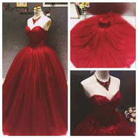 Unique Burgundy Wedding Dresses 2017 Sweetheart Appliques Backless Princess Lace Tulle Wedding Dress Ball Gowns Red
