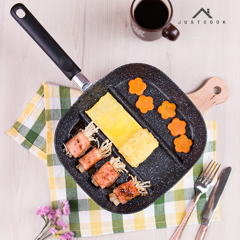 Justcook 22x24 CM Creative Breakfast Frying Pan Non-Stick 3 In 1 Frying Pans Divided Grill Gas Cooker For Fried Eggs Bacon
