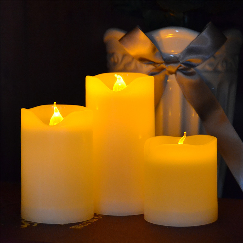 3 Pieces LED Candle Light Battery Operated Flickering Yellow Flameless Pillar Candle for Outdoor Decoration